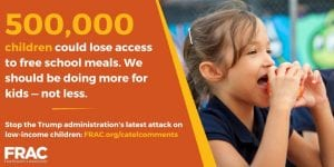 Infographic showing 500,000 children would lose food access under Trump Administration plan