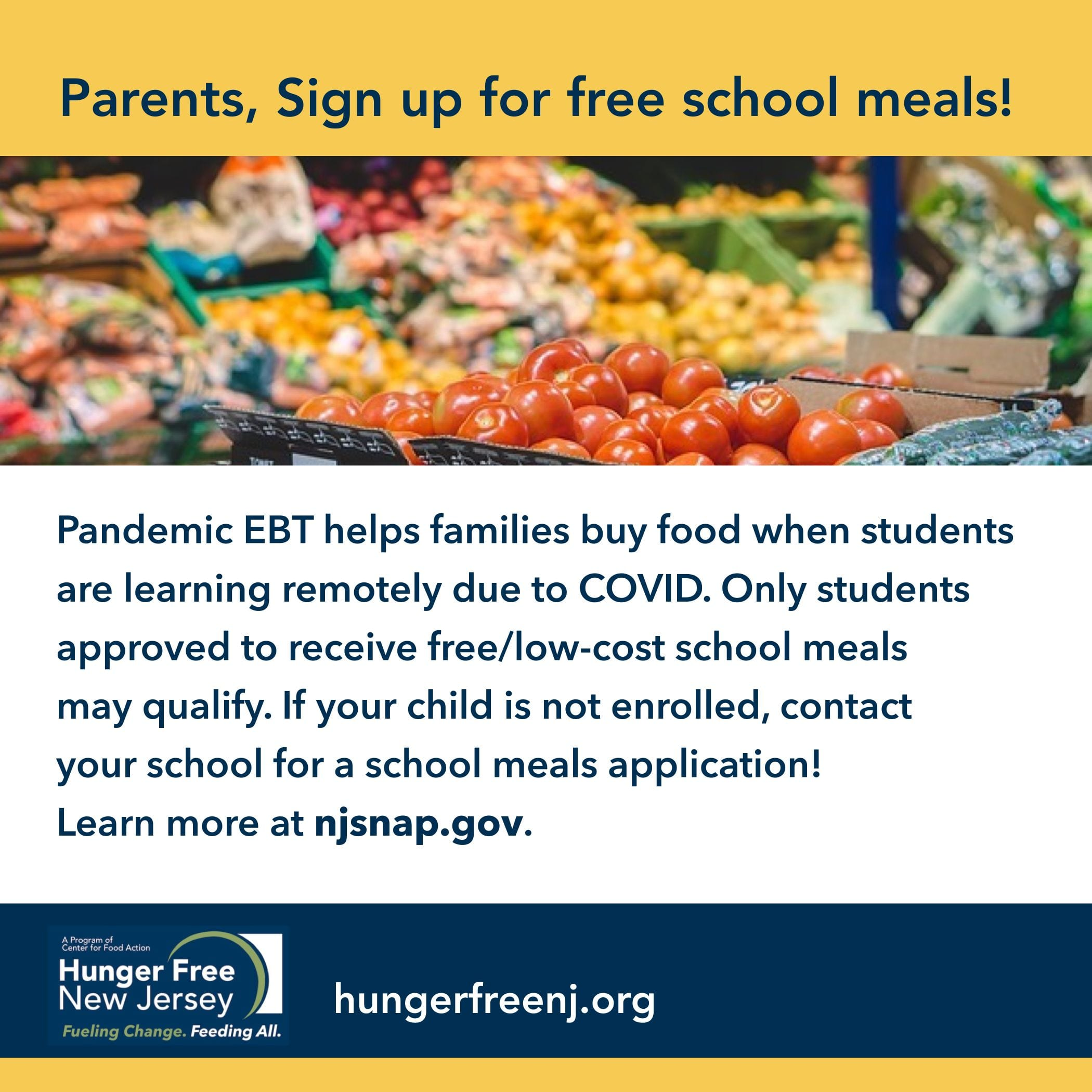Hey Parents! Sign up for school meals.