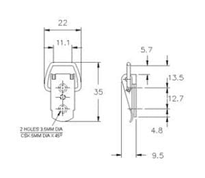 15 531SS Non Adjustable Toggle Latch Light Duty Stainless Steel (Natural)