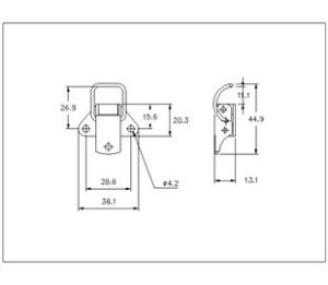 18-1204SS: Spring Claw Toggle Latch Light Duty Stainless Steel (Natural) drawing