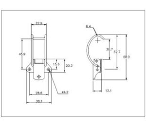 18-1645MSZN: Spring Claw Toggle Latch Light Duty Mild Steel Zinc Plate Passivate (Silver Blue) drawing